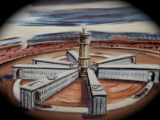 "Artists perspective of ""The Coniston Facility"", indicating, educational programme, "" marching', and proximity to Ayers Rock, (Uluru). Note attractive mural on building facade inspired by aboriginal dreaming and input from some local artists.  Searchlight atop main administrative tower  radar guided to locate absconders."