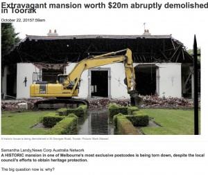 Toorak mansion worth $20m abruptly demolished despite heritage concerns
